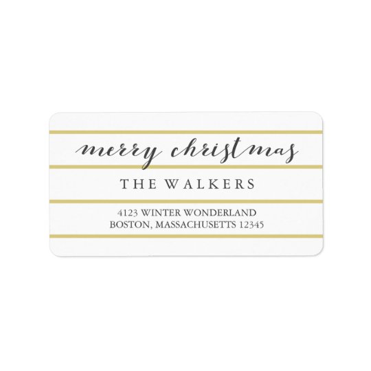 Gold Wide Pinstripes Script Merry Christmas