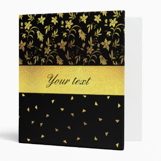 Gold Wildflowers and Scattered Triangles 3 Ring Binders
