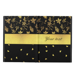 Gold Wildflowers and Scattered Triangles iPad Air Cases