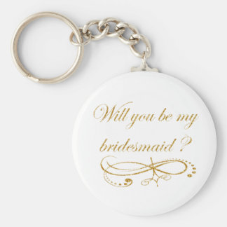 Gold Will You Be My Bridesmaid Keyring? Keychain