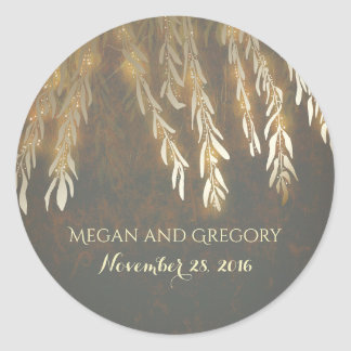 Gold Willow Tree Branches Vintage Wedding Classic Round Sticker