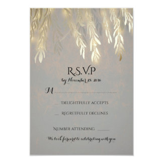 "Gold Willow Tree Branches Wedding RSVP Cards 3.5"" X 5"" Invitation Card"