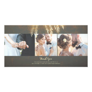 Gold Willow Tree Lights Vintage Wedding Thank You Photo Card Template