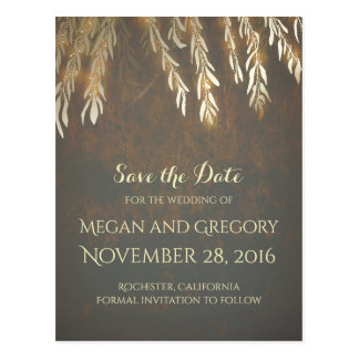 Gold Willow Tree Vintage Save the Date Postcard