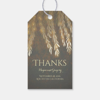 Gold Willow Tree Vintage String Lights Wedding Gift Tags