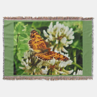 Gold Wings on Clover Throw Blanket