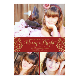 Gold Winter Flowers Holiday Photo card