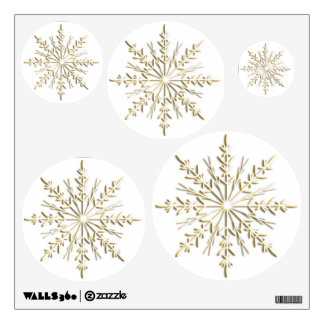 Gold Winter Snowflakes on White Wall Sticker