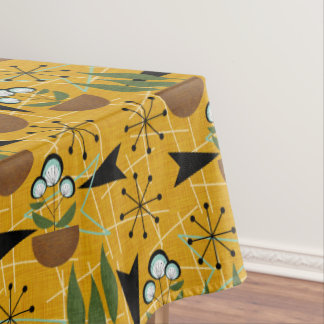 Gold With Aqua Houseplants | Atomic Style Tablecloth