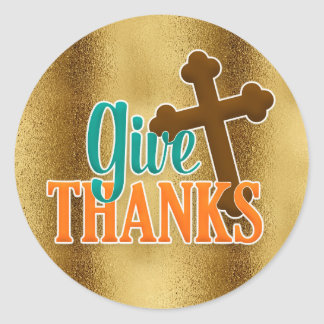 Gold with Brown Cross Give Thanks Sticker