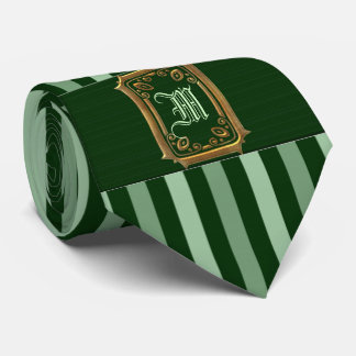Gold with Green Stripes Buckle Monogram Tie