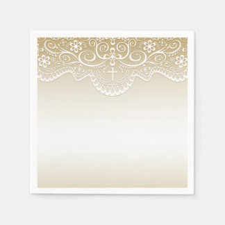 Gold with Lace, Cross, Religious Paper Napkin