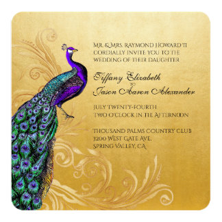 Gold With Peacock Wedding Invitation