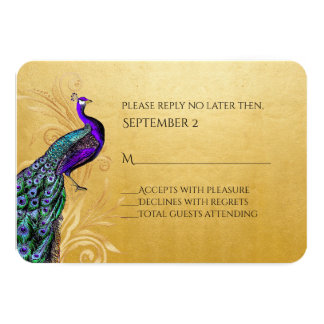 """Gold With Peacock Wedding RSVP Card 3.5"""" X 5"""" Invitation Card"""