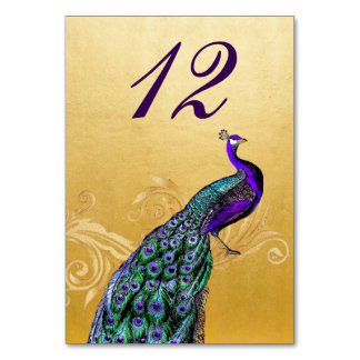 Gold with Peacock Wedding Table Number Card Table Cards