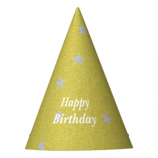 Gold With Silver Stars Happy Birthday Partywear Party Hat