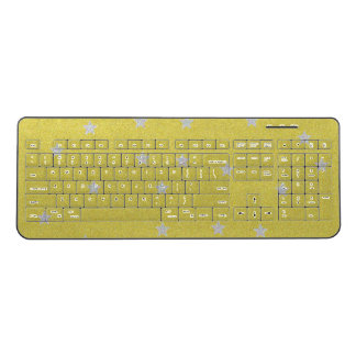 Gold With Silver Stars Wireless Keyboard