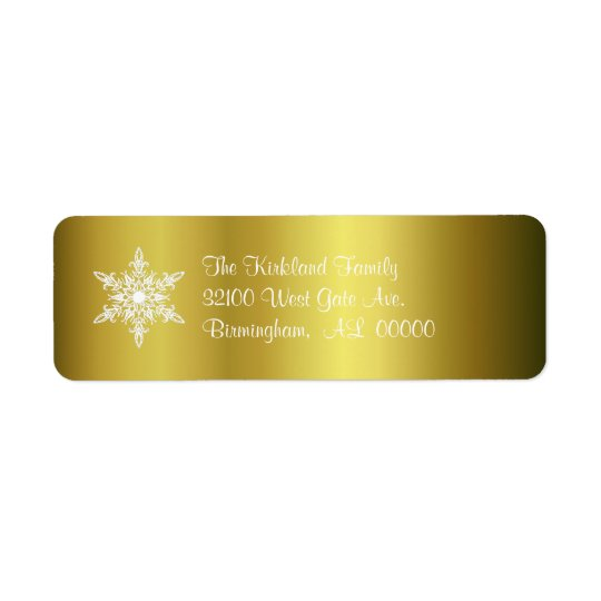 Gold with Snowflake Holiday Address Labels