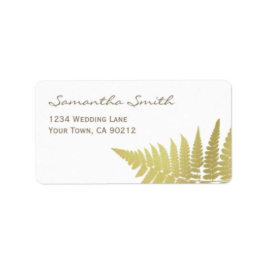 Gold Woodland Wedding Fern Label