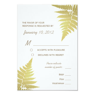 Gold Woodland Wedding Fern with Meal Options 3.5x5 Paper Invitation Card