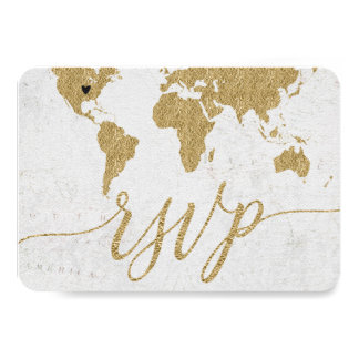 Gold World Map Custom Destination Wedding RSVP Card