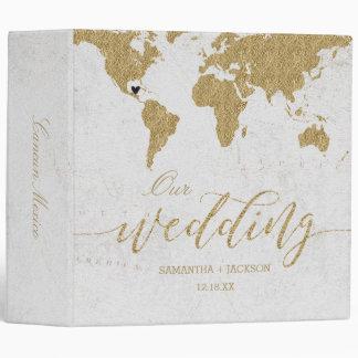 Gold World Map Destination Wedding Photo Album Vinyl Binder