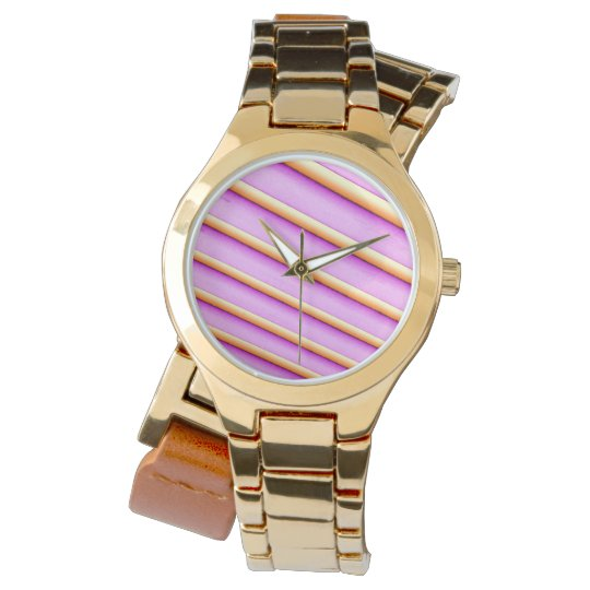 Gold Wrap-Around Watch with 3D Stripes