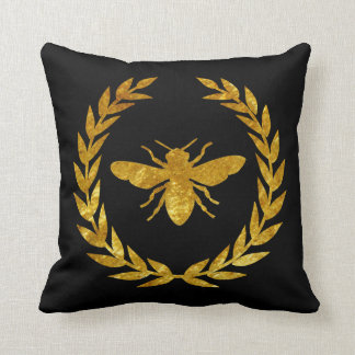 Gold  Wreath & Bee Personalize Throw Pillow