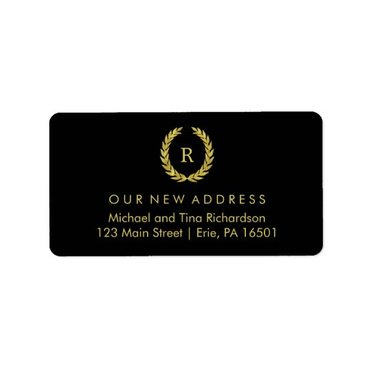 Gold Wreath on Black with Monogram New Address