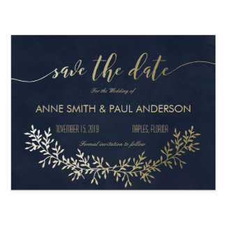 Gold wreath Save the Date Postcard