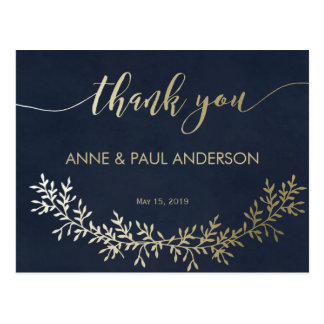 Gold wreath Thank You Card Postcard