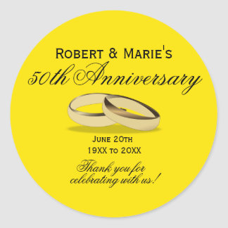 Gold & Yellow 50th Anniversary Favor Seals