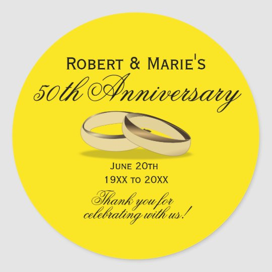 Gold & Yellow 50th Anniversary Favour Seals