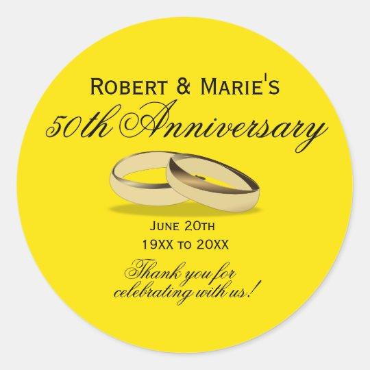 Gold & Yellow 50th Anniversary Favour Seals Round Sticker