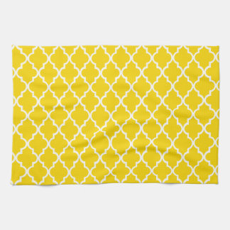 Gold Yellow And White Moroccan Trellis Pattern Kitchen Towel
