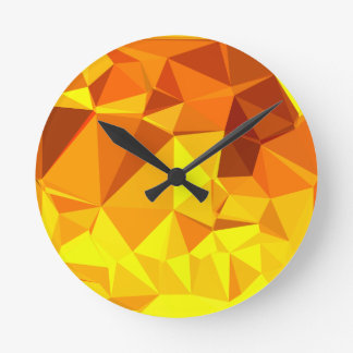 Gold Yellow Banana Abstract Low Polygon Background Round Clock