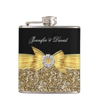 Gold Yellow Black Diamond Wedding Engagement Flasks