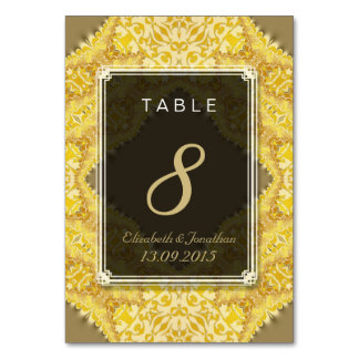 Gold Yellow Damask Wedding Table Number Card Table Cards