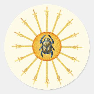 Gold Yellow Egyptian Scarab Sun Ankh Stickers