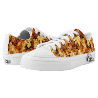 Gold yellow fall maple leaves Low-Top sneakers