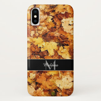 Gold yellow fall maple leaves Monogram Case-Mate iPhone Case