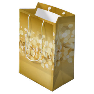 gold,yellow,glitter,bokeh,orbs,circle,pattern,star medium gift bag