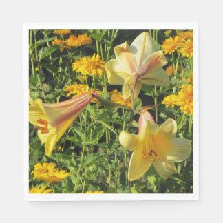 Gold Yellow Trumpet Lilies False Sunflowers Napkin