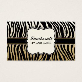 Gold Zebra Print Hair Stylist Hairdresser Salon Business Card