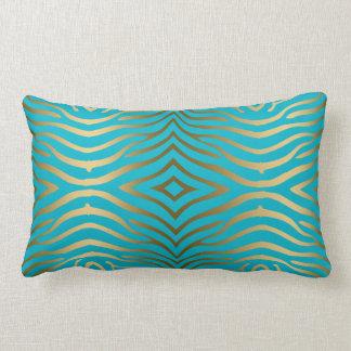 Gold Zebra Print On Turquoise Blue Lumbar Pillow