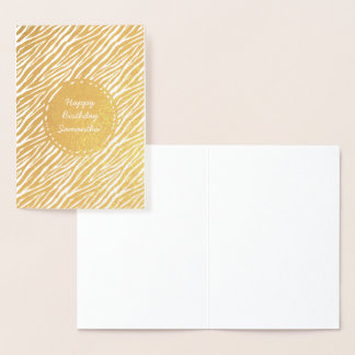 Gold Zebra print Personalized Birthday Foil Card