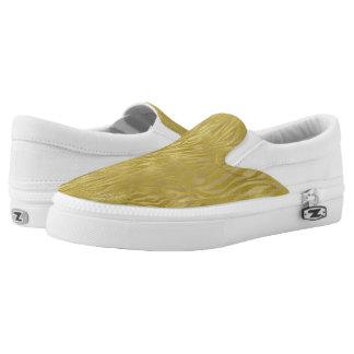 Gold Zebra Print Slip-On Sneakers