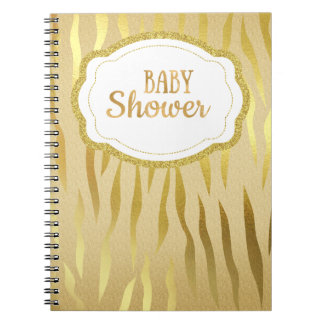 Gold Zebra Print Sparkle Baby Shower Notebook