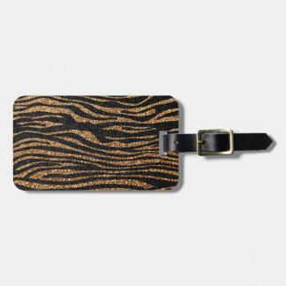 Gold zebra stripe pattern (faux glitter bling) luggage tag