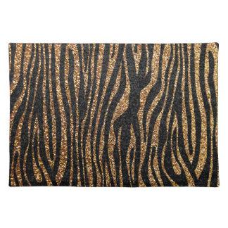 Gold zebra stripe pattern (faux glitter bling) placemat